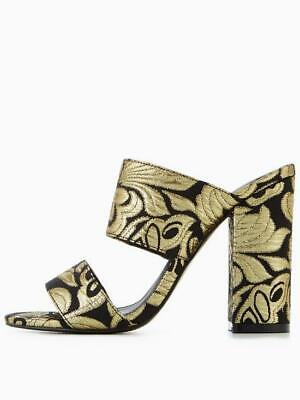 Gold Tapestry Mules Size 7 NEW Block Heel V By Very Icon • 18.39£