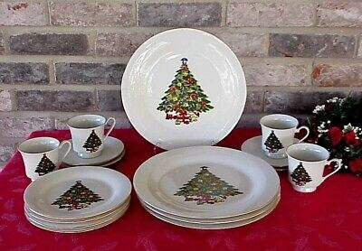 $49.99 • Buy Vintage Sea Gull Fine China Christmas Dishes Christmas Tree Gold Band 16 Pieces