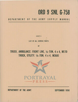 $43 • Buy ORD 9 SNL G-758 Illustrated Parts Catalog For M38A1 & M170