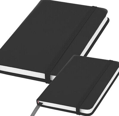 £3.99 • Buy A5 A6 Notebook Black Lined Hardback Journal 160 Pages (80 Sheets) 8mm Feint