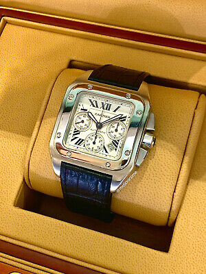 Cartier Santos 100 Extra Large Chronograph Silver Dial Stainless Steel W20090X8 • 5,758.83£