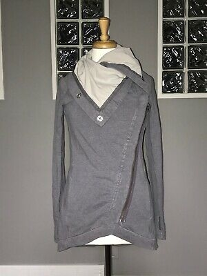 $ CDN88 • Buy Lululemon Method Wrap 4 Gray Asymmetric Zip Savasava Jacket Snaps Vguc