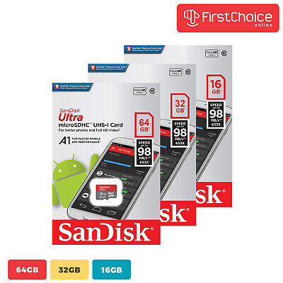 SanDisk Ultra A1 16GB 32G 64G Micro SD Class 10 SDHC SDXC Flash Memory TF Card • 7.20$