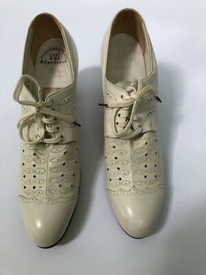 AU140.80 • Buy Vintage 40s Detailed White Leather Lace-up Oxfords Heels Granny Shoes Sz 6 N