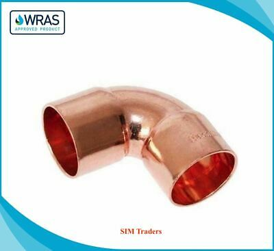End Feed Copper Elbow Fittings 90 Bend Copper Pipe 15/22/28mm 10/25 Packs WRAS  • 5.49£