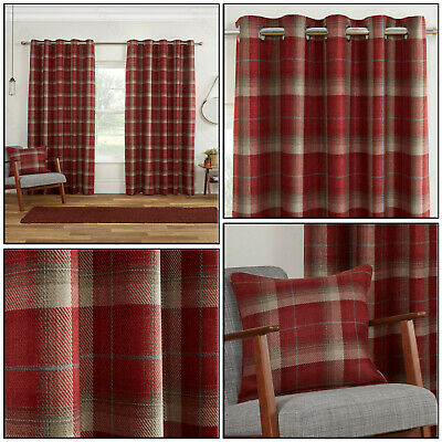 Red Blackout Highland Tartan Carnoustie Check Eyelet Top Ring Top Curtain Pair • 32.99£