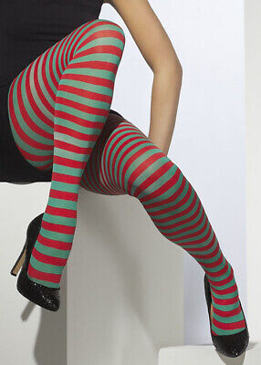 Ladies Red And Green Striped Elf Tights • 9.49£
