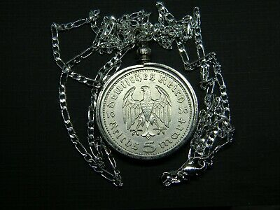 $ CDN36.18 • Buy Necklace German 1936 5 Reichsmarks Coin Sterling Silver Chain 28