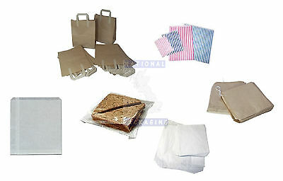 £12.43 • Buy SMALL LARGE PAPER BAGS - Carrier Strung Film Fronted SOS Takeaway - ALL SIZES