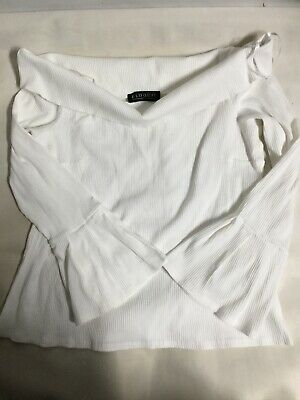 EQOQULL Women's Size 20 White Off The Shoulder Sweater Crop 3/4 Slvs Top. J23 • 12.90£