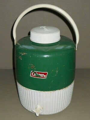 $11.69 • Buy Coleman 2 Gallon Green White Water Jug & Cup Cooler Metal Plastic Vintage 1982