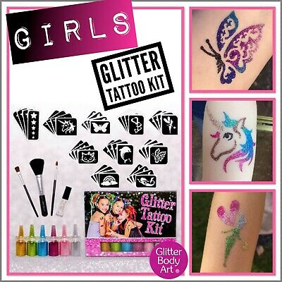 Girls Glitter Tattoo Kit - Girls Stencil Designs, Sleepover, Princess, Fairy • 9.99£