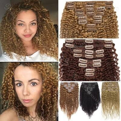 8 -24  Afro Kinky Curly Clip In Peruvian Human Extensions Double Weft Thick UK • 16.61£