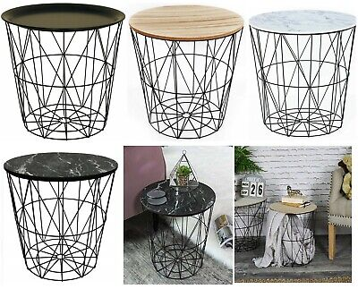 £19.95 • Buy Retro Black Metal Wire White Marble Top Storage Side Table Basket Home Furniture