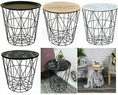 Retro Black Metal Wire White Marble Top Storage Side Table Basket Home Furniture • 19.95£