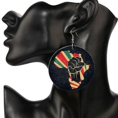 NEW African Wooden Print Colourful Earrings • 4.99£