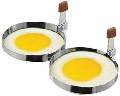 2 X Egg Frying Rings Stainless Steel Fry Fried Poacher Mould Pancakes • 2.59£