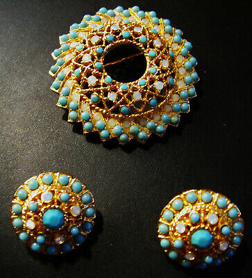 Stunning Vintage Signed Sarah Coventry Pin & Earrings Set Faux Turquoise & Opals • 19.99$