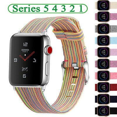 $ CDN6.67 • Buy For Apple IWatch Series 5/4/3/2/1 Canvas+Leather Strap Watch Band Belt 40/44mm