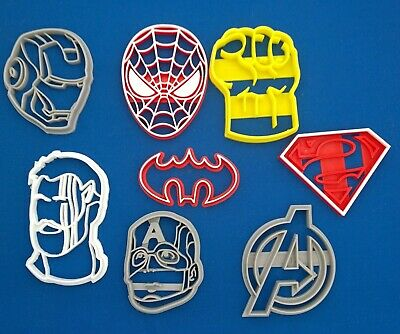 Superheroes Cookie Cutters Set Of 8 Avengers Batman Superman • 19.99£