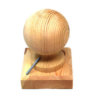 £13.99 • Buy 4  (100mm) WOODEN PINE BALL, FINIAL & BASE FOR 4  FENCE POST - PRESSURE TREATED