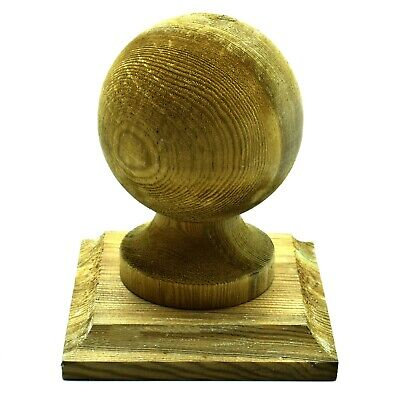 £13.99 • Buy GREEN TREATED WOODEN FINIAL 4  100mm BALL + BASE TO SUIT 4  100mm FENCE POST