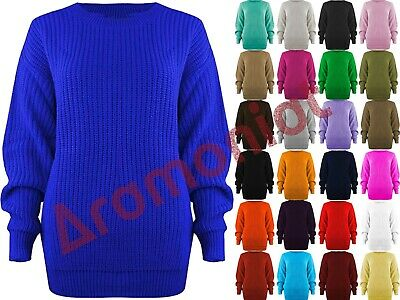 Womens Ladies Casual Basic Cosy Knitted Baggy Jumper Winter Top Plus Size S-3xl • 10.99£