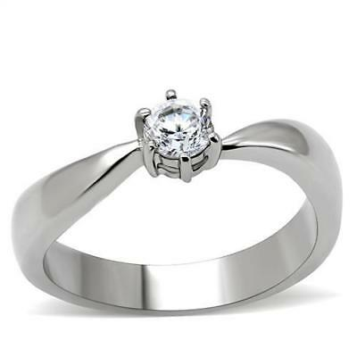 Half Carat Ring Ladies Stainless Steel Cz Solitaire Engagement Silver .50ct 201  • 11.99£