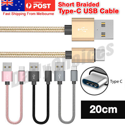 AU5.49 • Buy Short Braided USB Type C Data Charger Charging Cable For Samsung Galaxy S8 S9 +