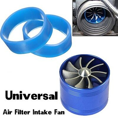 $17 • Buy SUV Single Supercharger Turbo Charger Air Filter Intake Fan Fuel Gas Saver -Blue