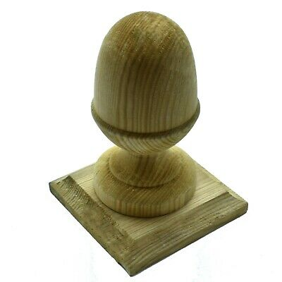 £13.99 • Buy GREEN TREATED WOODEN ACORN FINIAL 4  100mm + BASE TO SUIT 4  100mm FENCE POST