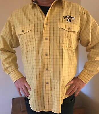 Jack Daniels Old No.7 Yellow Plaid Embroidered Long Sleeve Button Men's Shirt Lg • 20.50$