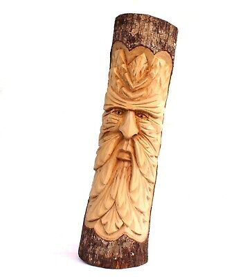Green Man Wood Full Log Carving Decor Hand Carved 50cm Wizard Tree CLEARANCE • 27.94£