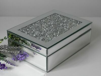 Crushed Diamond Mirrored Jewellery Box Silver Chest Sparkle Christmas Gift Glass • 16.99£
