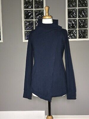 $ CDN70.40 • Buy LULULEMON COAST WRAP 4 HEATHERED NAVAL BLUE MODAL JACKET EUC To And From