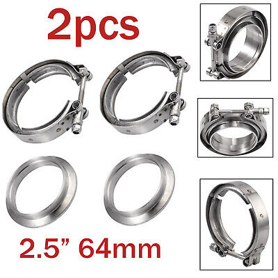 AU43.85 • Buy 2X 2.5 Inch 64mm V-Band Flange Clamp Stainless Steel For Turbo Exhaust Downpipes