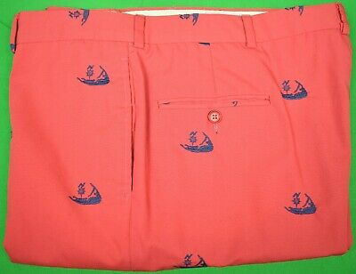 $175 • Buy Murray's Toggery Shop Embroidered Nantucket Island Motif Ack Red Trousers Sz 40W