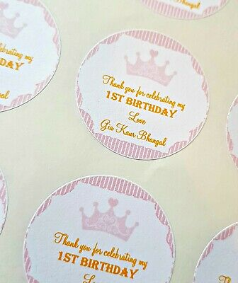 Personalised Party Stickers Crown, Pink Or Blue 1st Birthday Christening 24x4cm • 2.50£