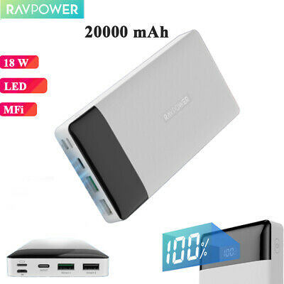 AU54.99 • Buy RAVPower Power Bank 20000mAh Tri-In/Output Lightning Type-C 18W QC3.0 PD Pioneer