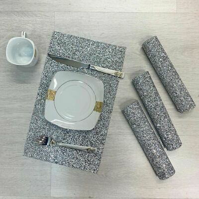Diamante Romany Dining Table Mat Place Tableware Dinner Sparkly Crushed Diamond • 27.99£