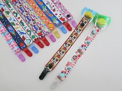 Girls Boys Grosgrain Ribbon Dummy Pacifier Clips, Lots Designs To Choose From • 1.80£