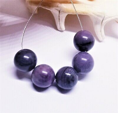 $79.50 • Buy 5 NATURAL UNTREATED AFRICAN PURPLE SUGILITE ROUND BEADS 10mm 39.5cts AAA+++ SET