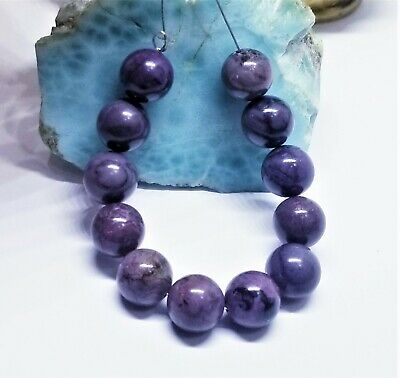 $189 • Buy 12 NATURAL UNTREATED AFRICAN PURPLE SUGILITE ROUND BEADS 10mm 95.5cts AAA+++ SET