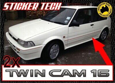 AU35 • Buy 2x TWIN CAM 16 STICKER DECAL TO SUITS SERIES 3 TOYOTA COROLLA AE82 4AGE