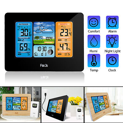 $38.97 • Buy Digital LCD Indoor & Outdoor Weather Station Clock Calendar Thermometer Wireless