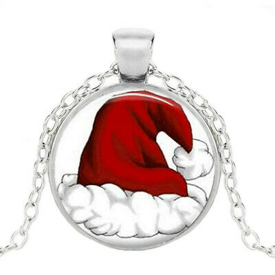 £1.84 • Buy Santa Christmas Photo Tibet Silver Cabochon Glass Pendant Chain Necklace Jewelry