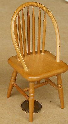 $4.55 • Buy 1:12 Scale Oak Colour Wooden Single Spindle Back Chair Tumdee Dolls House