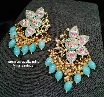 $16.99 • Buy Ethnic Indian Bollywood Wedding Polki Earrings Jhumka Jhumki Bridal Jewelry