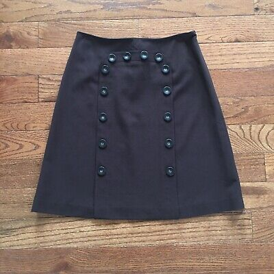 $19 • Buy ANTHROPOLOGIE Elevenses Brown Military Button Corset Skirt Size 4