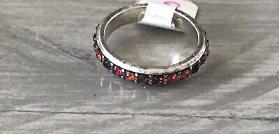NWT BRIGHTON MULTI RED CRYSTAL RING Silver-Plated-Size 8 • 15$